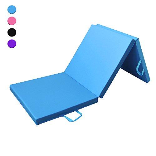 Prime Selection Products Materassino da ginnastica 180cm per casa, morbido tappetino fitness pieghevole in tre segmenti, 180cm di lunghezza x 60cm di larghezza x 5cm di spessore