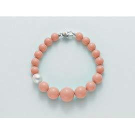 Miluna Bracciale Corallo Rosa e Perla con chiusura in argento
