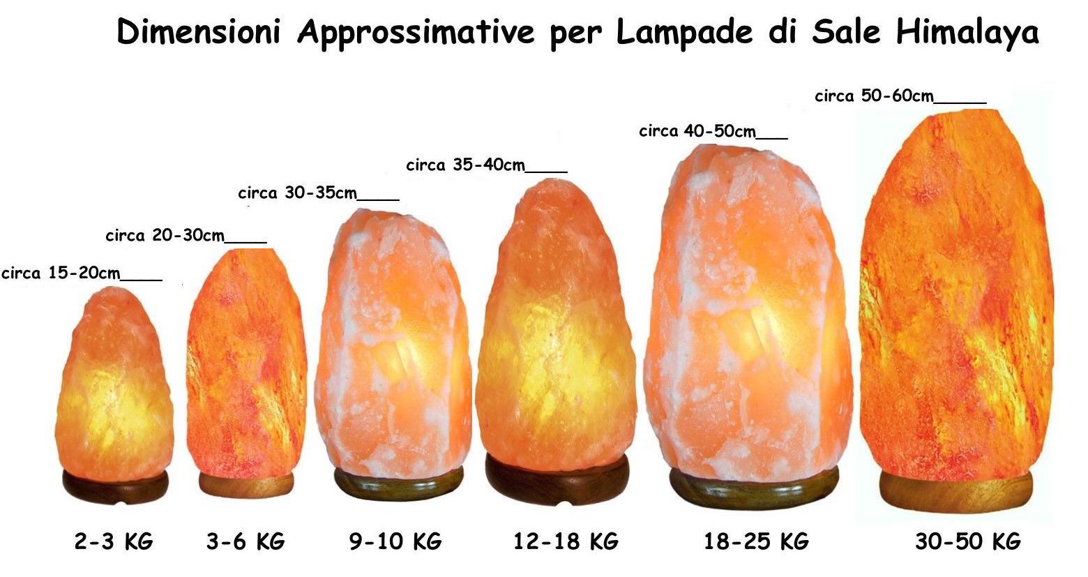 dimensioni lampada di sale